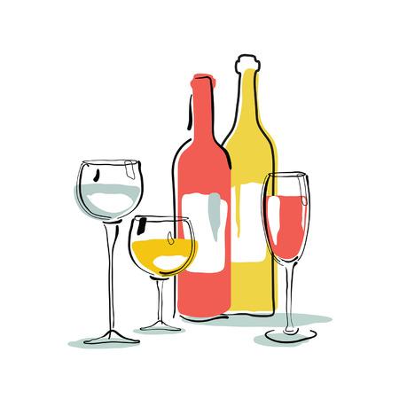 beverage: Wine bottle, glass silhouette