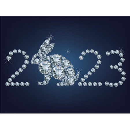 year of the rabbit: Happy new year 2022 creative greeting card with Rabbit made up a lot of diamonds