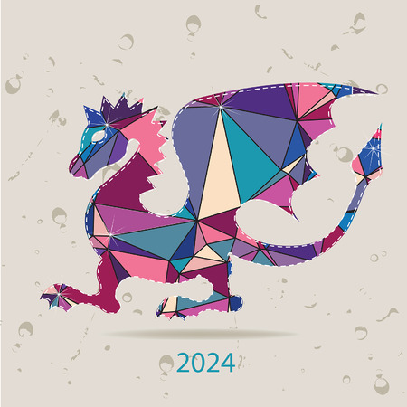 Happy new year 2024 creative greeting card with Dragon made of triangles