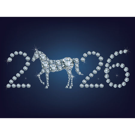 year of horse: Happy new year 2026 creative greeting card with Horse made up a lot of diamonds