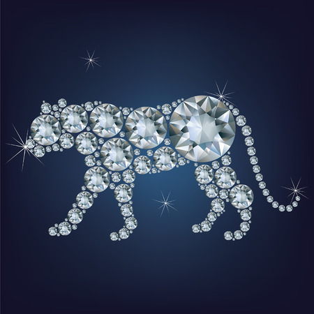 year of the tiger: Happy new year 2022 creative greeting card with Tiger made up a lot of diamonds Illustration