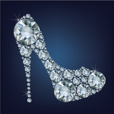 gemstone: Shoes shape made up a lot of diamond on the black background