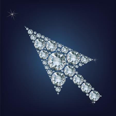 Arrow cursor shape made up a lot of diamonds Vetores