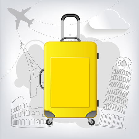 Travel bag with different travel elements vector, Colosseum, Pisa, Eiffel Tower
