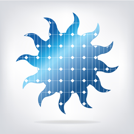 Sun with solar panels texture