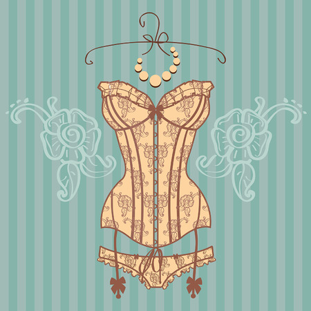Vintage guipure corset vector illustration Illustration