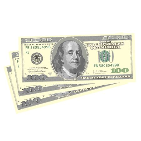 Vector drawing stylized one hundred highly detailed dollar banknotes. Vettoriali
