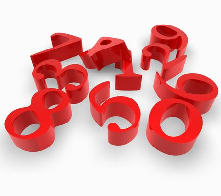 numbers in red Stock Photo - 3643515