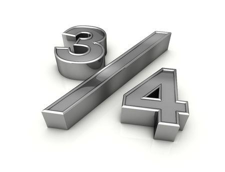 fraction: fraction three quarters  Stock Photo