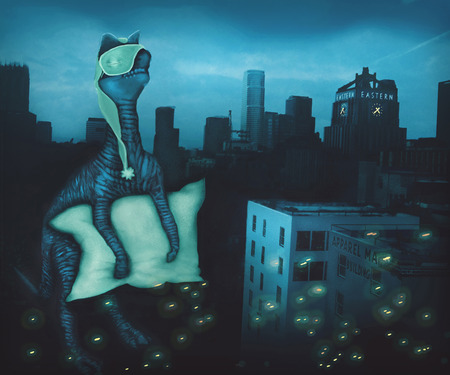sleepwalker: Sleepwalking dinosaur in city, cartoon Stock Photo