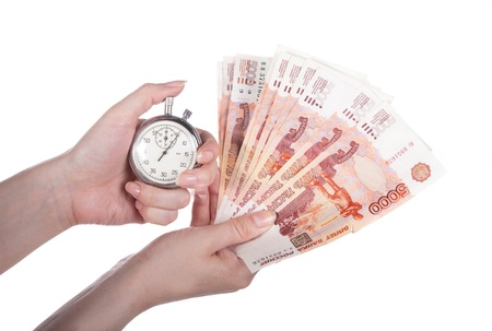 stopwatch and money in the woman photo