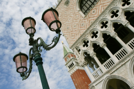 doge's palace: fragment of the bell tower and Doges Palace