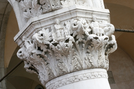 doges  palace: fragment of a column of the Doges Palace in Venice