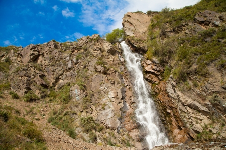 Turgen waterfall in the mountains near Alma-Ata in Kazakhstan photo