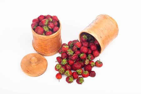 birchbark: red ripe strawberries in a birch-bark box