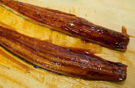 saltwater eel: sliced smoked urgya for Japanese cuisine