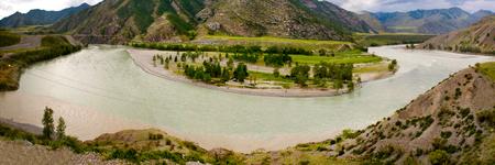 katun: River Chuya and Katun in Altai in the summer. Panorama