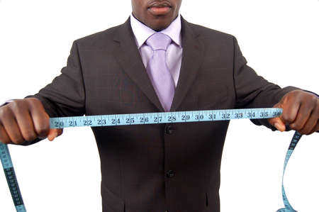 This is an image of a man with a measuring tape.