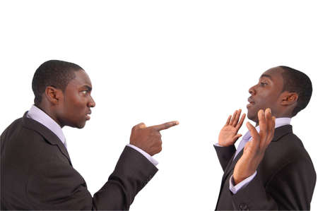 This is an image of business man arguing against himself. This represents