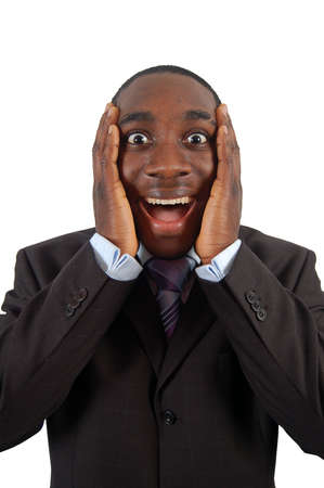 This is an image of a business man excited. Stock Photo