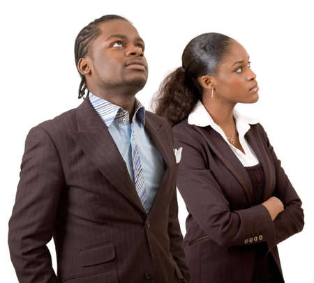 This is an image of a businessman and businesswomen ponderingthinking. This image can be used to represent