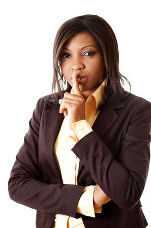 commanding: This is an image of a businesswoman commanding silence.