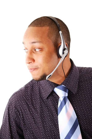 This is an image of a man with a microphone headset on. This image can be used for telecommunication and service themes. photo