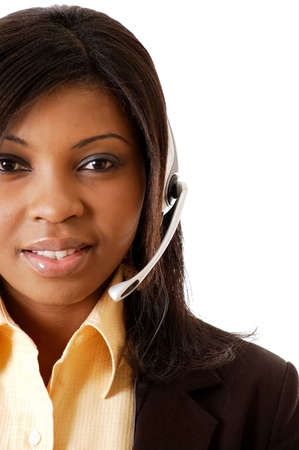 This is a close-up image of a female call operator. This image can be used for telecommunication and service themes. (Editted over white for easy clipping)  photo