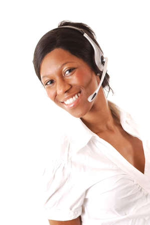 This is an image of a female call operator. This image can be used for telecommunication and service themes.   Stock Photo