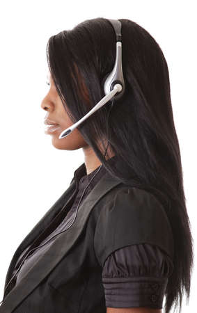 This is an image of a female call operator. This image can be used for telecommunication and service themes.  photo