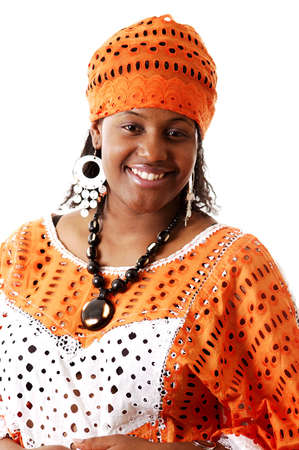 This is an image of a woman wearing an african attire.