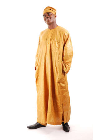 This is an image of a man wearing an attire.