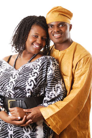 nigerian: This is an image of an african couple wearing african attires.