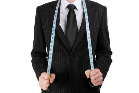 tailor: This is an image of business man wearing a tape measure across his suit.