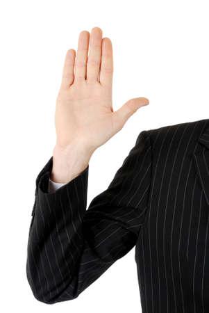 vers  ¶hnung: Dies ist ein Bild des Unternehmens Mann mit seiner Hand auf. Lizenzfreie Bilder