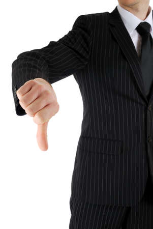 This is an image of business man gesturing thumb down.