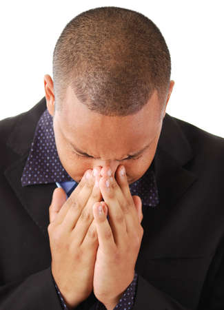 This is an image of a business man with his head in his hands. Stress and Failure concepts Stock Photo - 5268425