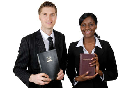 This is an image of a couple holding bibles.  photo