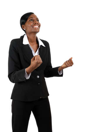 jubilation: This is an image of a business woman celebrating success.
