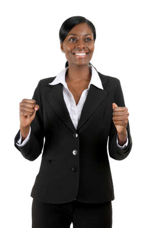 This is an image of a business woman celebrating success. photo
