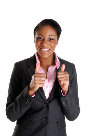 This is an image of business woman happy with thumbs up. Stock Photo
