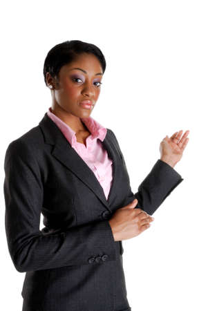 This is an image of a business woman doing a presentation.