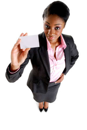 This is an image of a business woman presenting a business card photo