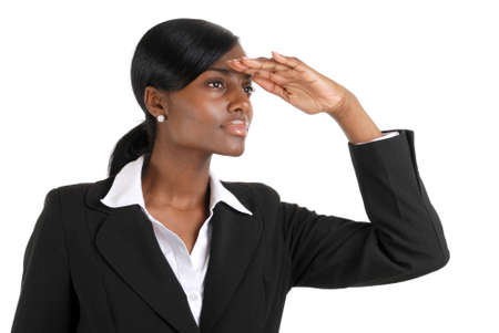 This is an image of a business woman looking away into copyspace. This represent business vision.
