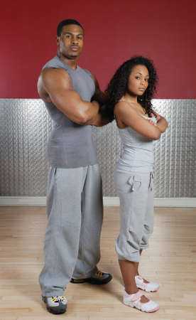 african american male: This is an image of a fitness trainer couple.