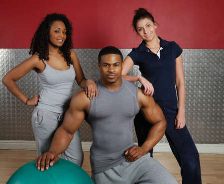 This is an image of a fitness gym team. Stock Photo