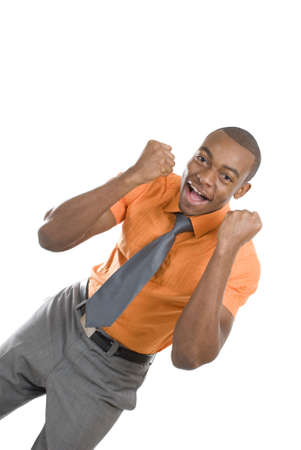jubilation: This is an image of an excited business man celebrating.