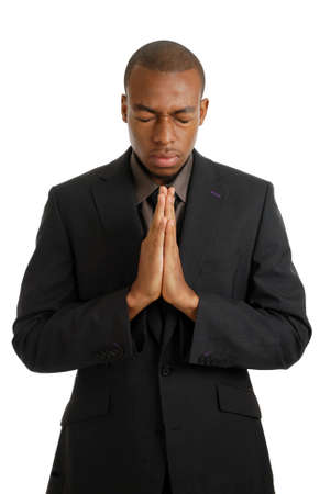 This is an image of a business man praying, using prayer gesture. Stock Photo - 9425149