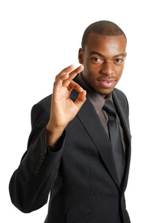 This is an image of business man gesturing okay. Stock Photo
