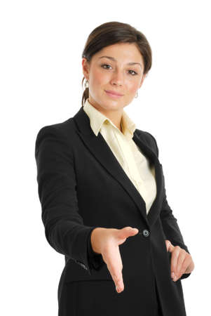 This is an image of business woman offering a handshake.